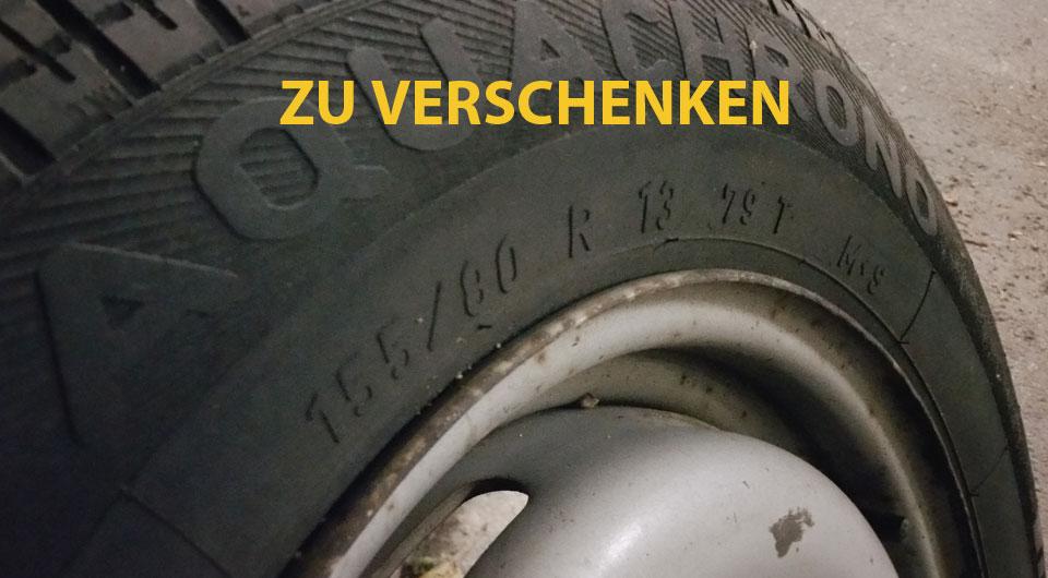 Reifen mit Felgen zu verschenken - 4 Stück 155 / 80 R 13 M+S