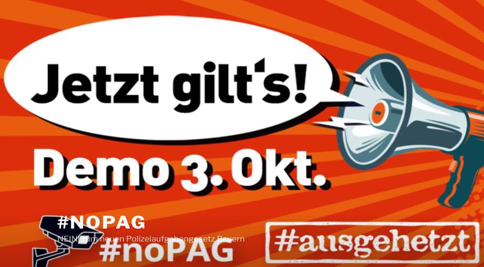 Demo 3.10.2018 München - Jetzt gilt's - Gemeinsam gegen eine Politik der Angst - #ausgehetzt #omasgegenrechts