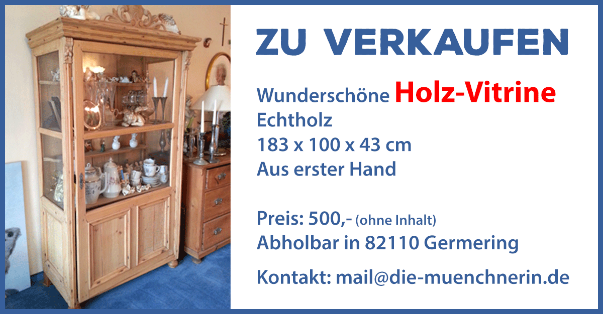 Verkaufe wunderschöne Holzvitrine in Germering
