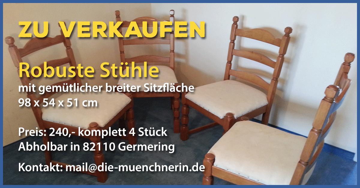 Verkaufe vier robuste Stühle mit gemütlicher breiter Sitzfläche
