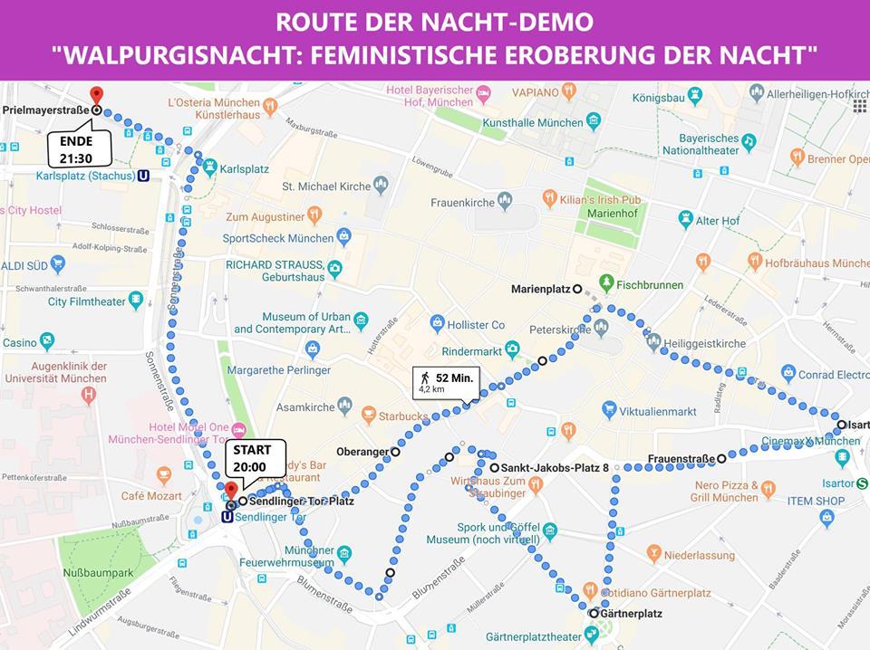 Walpurgisnacht München 2019 Demo Route