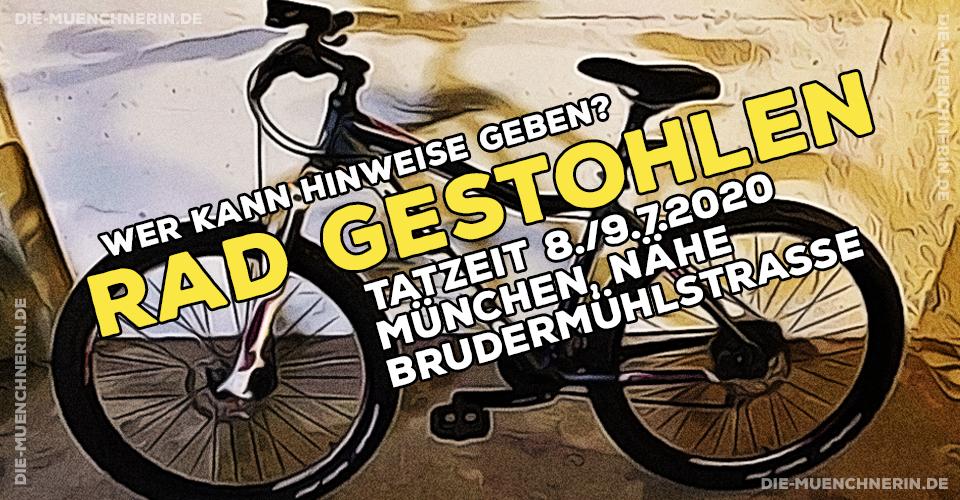 8./9.7.2020 - Fahrrad Marke Focus in München, Nähe Brudermühlstrasse gestohlen.