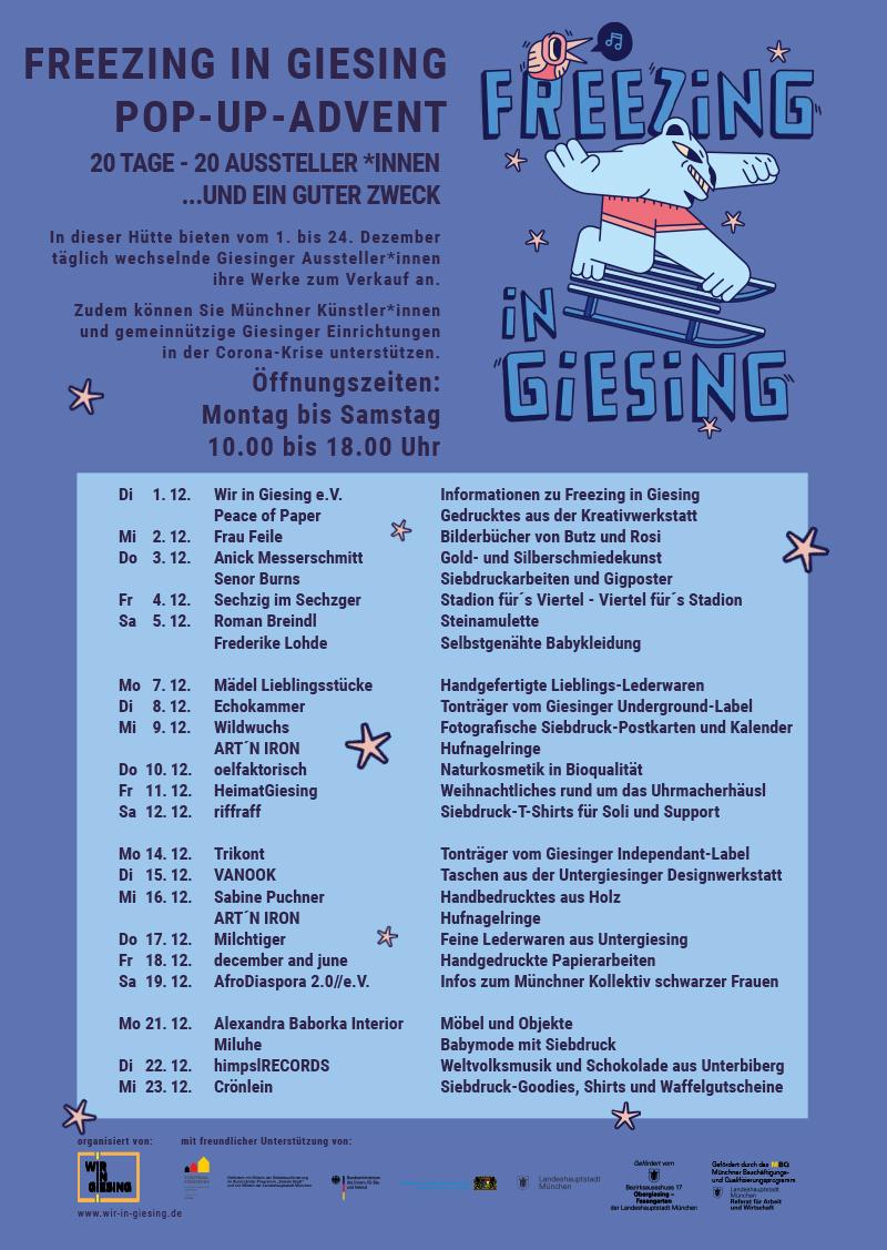 Freezing in Giesing - Adventshütte vor der Telapost 1.-24.12.2020